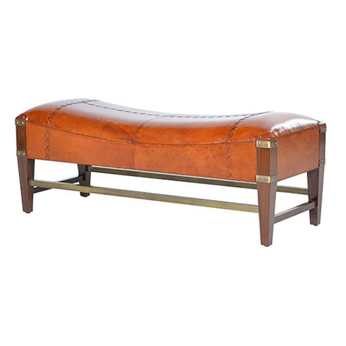 Tan Leather Bench Seat