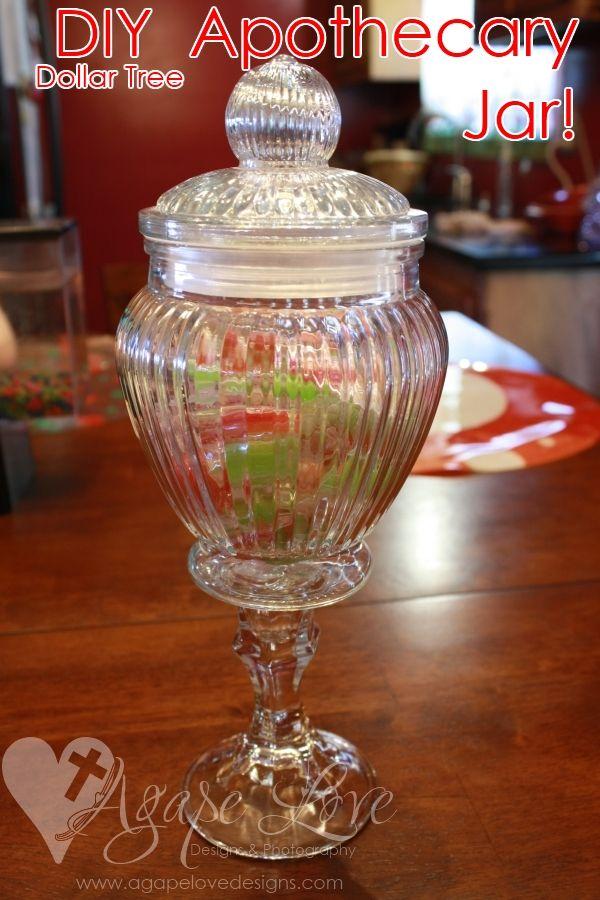 Dollar Tree Apothecary Jar DIY via @Maria Gridley Agape Love Designs