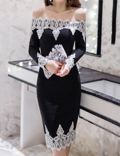 084680ef45b Off Shoulder Decorative Lace Plus Size 5XL Bodycon Dress