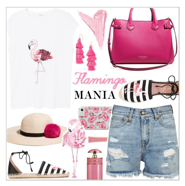 """Flamingo Mania 💕"" by teryblueberry ❤ liked on Polyvore featuring MANGO, R13, Skinnydip, Burberry, RED Valentino, Eugenia Kim, Prada, Forever 21 and By Terry"