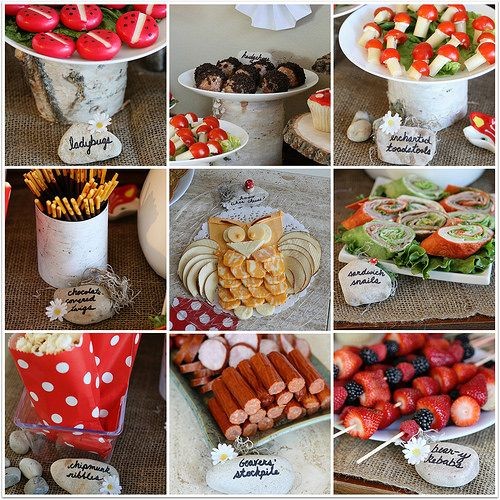 Woodland birthday party food: the best of the web! Babybel ladybugs, donut hole hedgehogs, cheese and tomato toadstools, pocky as chocolate-covered twigs, bear-y kebabs and popcorn as chipmunk nibbles.