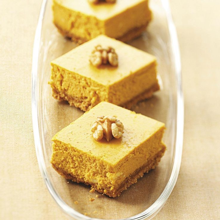 Pumpkin Cream Cheese Bars Recipe -Pumpkin pie and cheesecake go together perfectly in these bars. They are absolutely delightful and easy to make. —Sharon Kurtz, Emmaus, Pennsylvania