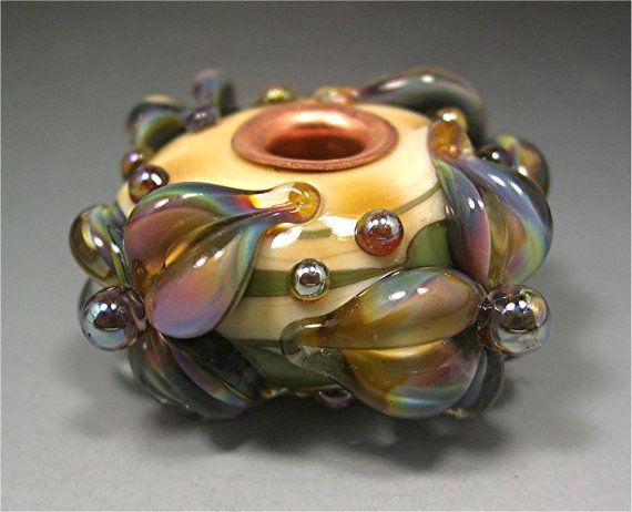 handmade lampwork glass bead organic focal donna by