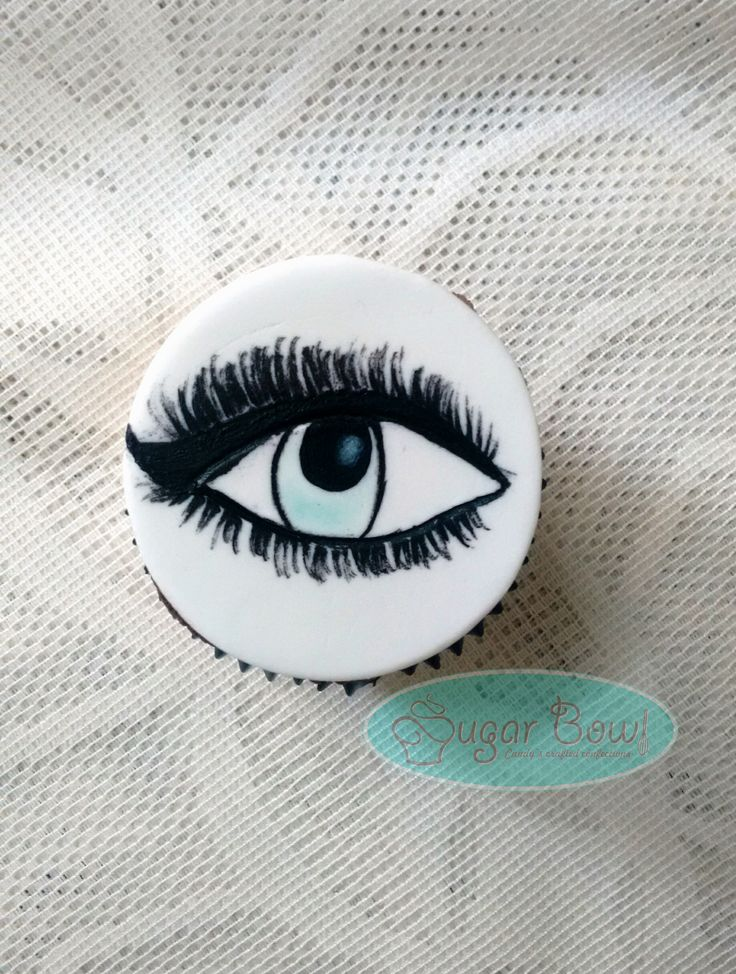 hand painted eye topper on cupcake