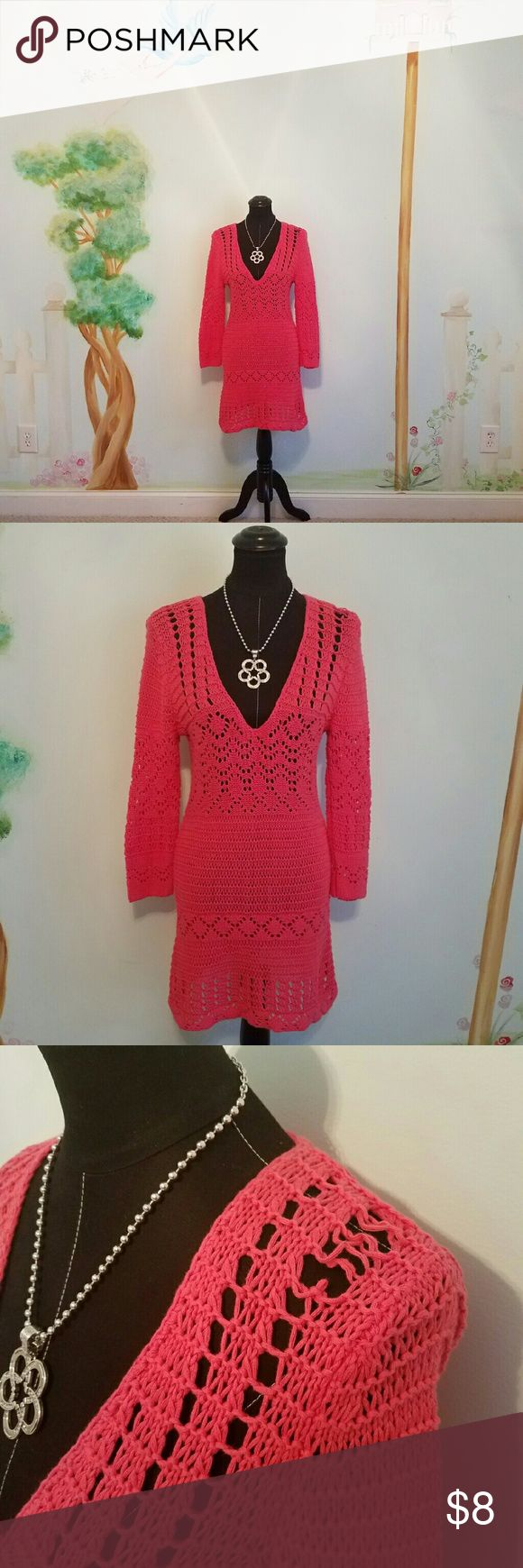 """Moda International Beautiful Coral Sweater Dress Beautiful coral sweater dress. It unraveled a bit on the shoulder, but it's still so pretty and like new other than that. Slips on over your head. 100% Cotton. Machine washable.  Bust 16"""" Waist 14"""" Hips 16"""" Length 33"""". Please let me know if you have any questions. Thank you for looking! Xoxoxoxo Moda International Dresses"""