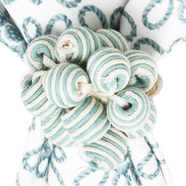 Juliska Bead Bouquet Striped Napkin Ring Ice Blue By ($15) ❤ liked on Polyvore featuring home, kitchen & dining, cloth napkins and juliska