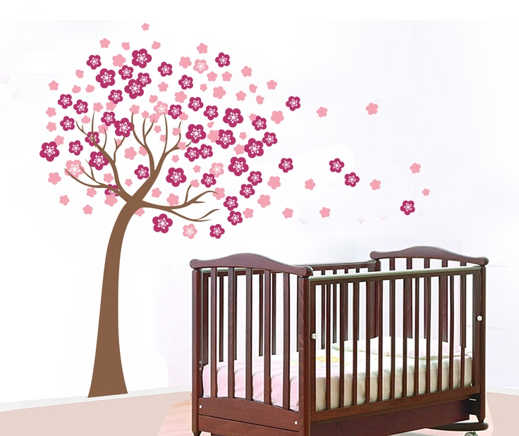 Blossoming Flower Tree Wall Sticker Decals Paper- Perfect for Nursery or  Girls Bedroom Removable Extra
