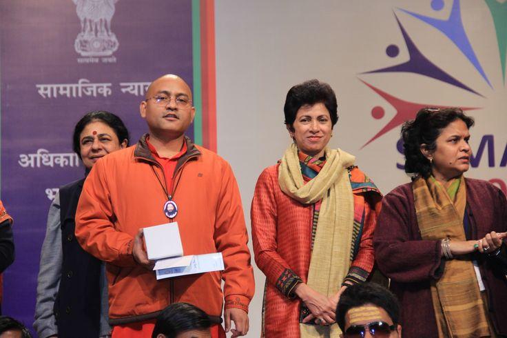 Swami Sumedhanand Ji with Kumari Shailja while representing Antardrishti at Samarth 2014 - Celebrating Diversity