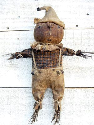 Primitive Folk Art Harvest Pumpkin Scarecrow Doll PDF E-Pattern Sweetpeas Primitives