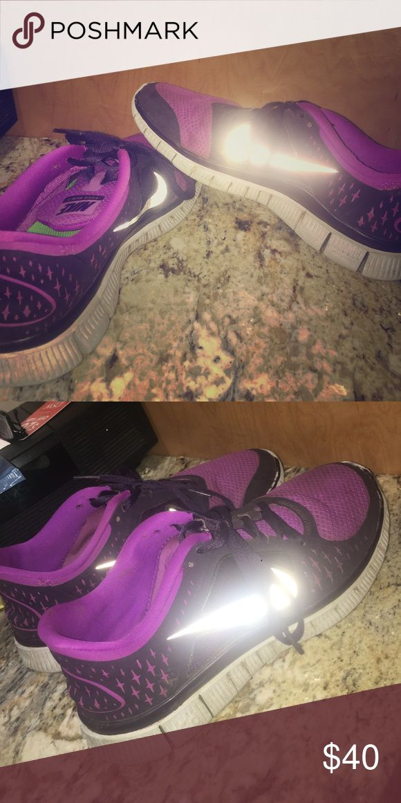 Nike free run 3 purple. Size 9. Nike free run 3. light and dark purple. size 9. lightly worn and signs of wear are at a minimum to none. dry cleaned before shipment Nike Shoes Athletic Shoes