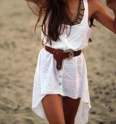white dress and chunky beltBeach Dresses, Summer Dresses, High Low Dresses, Style, Highlow, Cute Dresses, Coverup, The Dresses, White Dresses