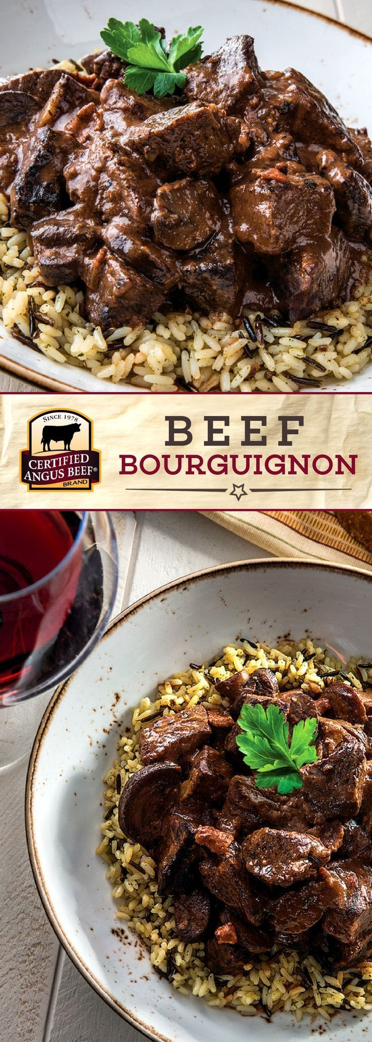 It doesn't get more COMFORTING than this! Certified Angus Beef ®️️️️️️️️️️️️️️️️️️️️️️️ brand Beef Bourguignon is the quintessential French recipe! A French classic with tender Beef Roast chunks, BACON, and mushrooms  slow cooked in a rich braise of thickened wine, stock, and aromatics for MAXIMUM flavor and tenderness! #bestangusbeef #certifiedangusbeef #beefstewrecipe #roastrecipe