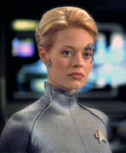 Seven of Nine (born Annika Hansen) is a fictional character on Star Trek: Voyager, portrayed by actress Jeri Ryan. Born human, she was assimilated by the Borg at the age of six. Eighteen years later, Voyager left Borg space with Seven on board, after attempts to negotiate passage through Borg space proved only semi-successful.