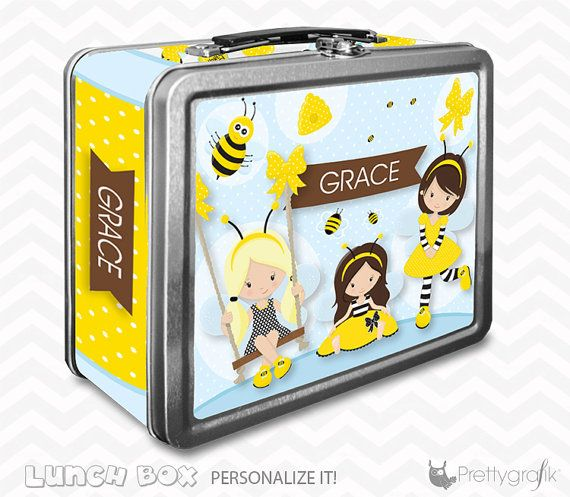 Honey bee Lunch box personalized lunch box by PrettygrafikGifts #customlunchbox #beelunchbox #kidslunchbox