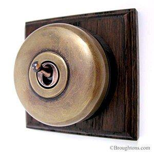 Plain Dome Switch on Plinth 1 Gang Antique Satin Brass