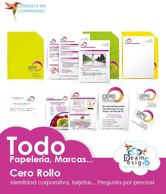 Variedades de piezas gráficas para la empresa Cero Rollo...Imprimibles!! #Papelería Diseñamos todo para tu #Empresa #Logotipo Nos adaptamos, somos flexibles!!