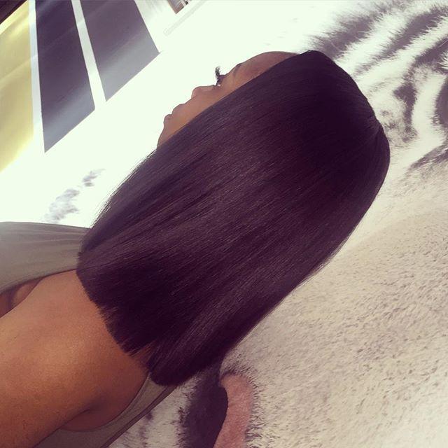 Mink Brazilian Straight hair by @hairbytheguru  blunt cut sew in installation by me