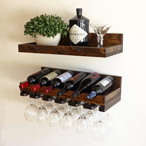 Rustic Wood Wine Rack Wall Mounted Shelf With Hanging Etsy Wine Rack Wall Wine Bottle Shelf Wine Bottle Display