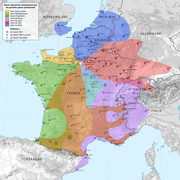 Et une carte qui montre quelle gare parisienne vous devez prendre si vous voulez quitter Paris. | 19 cartes qui vont vous faire voir Paris différemment