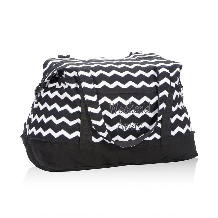 Retro Metro® Weekender in Black Chevron for $80 - Featuring all the style of our Retro Metro Bag but as a weekender with more room inside, this is the perfect tote to take along on any trip. With five pockets and a spacious interior, you'll have plenty of room to store everything you need! Each Retro Metro style features one of 60 unique, inspirational sayings.  Via @thirtyonegifts