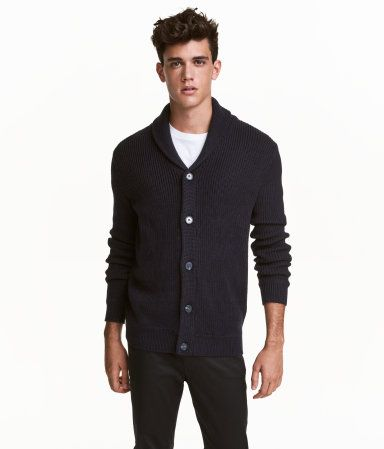 Ribbed cardigan | Dark blue | Men | H&M CA