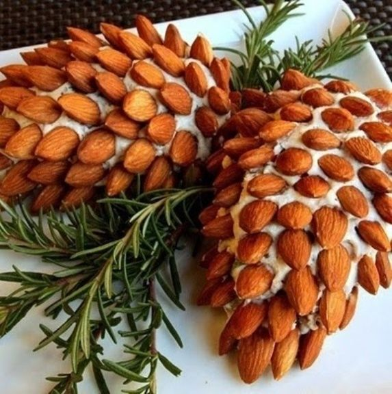 Pine Cone Cheese Spread with whole almonds: christmas-themed appetizers