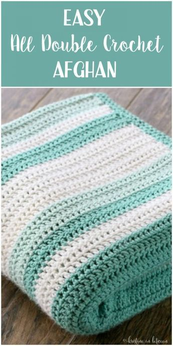 Simple beginner afghan with all double crochet stitches