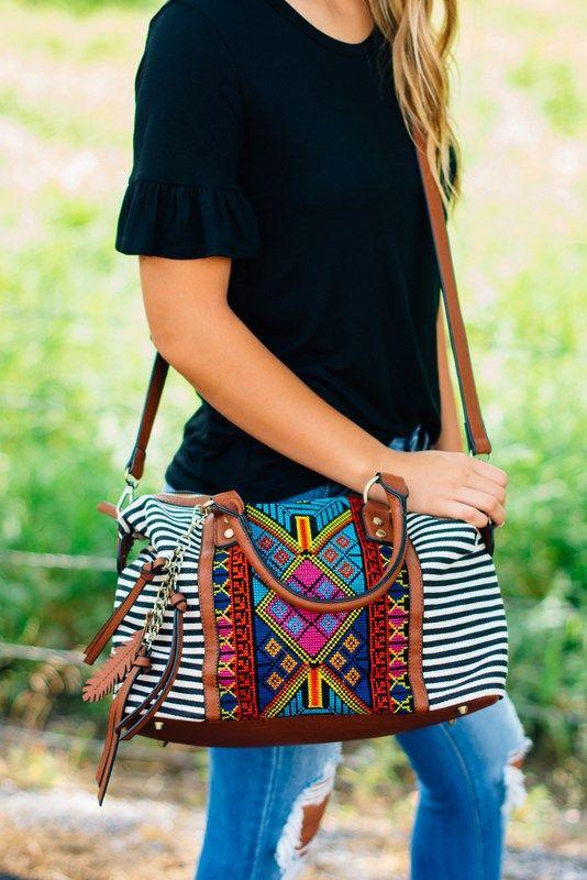 Trendy Stripes + Aztec Bag