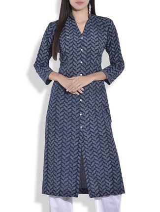 Buy Lavanya Indigo cotton handblock printed kurta Online, , LimeRoad