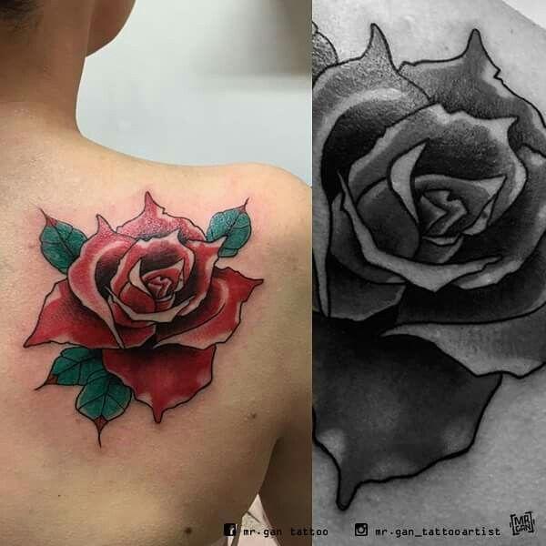 #rosetattoo #rosa #colortattoo #inked #ink #tattooedgirlsdoitbetter #tattooedgirls #tattooed #tattoo