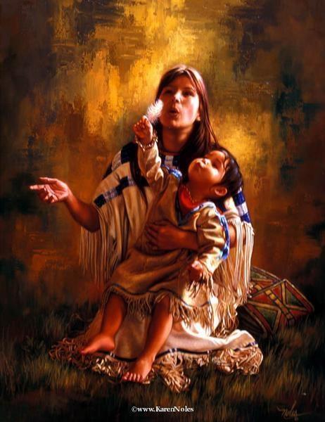 """""""La bellezza degli alberi, la morbidezza dell'aria, il profumo dell'erba, mi parla. La cima della montagna, il tuono del cielo, il ritmo del mare, mi parla. La debolezza delle stelle , la freschezza del mattino, la goccia di rugiada sul fiore, mi parla. la forza del fuoco, il gusto del salmone, il sentiero del sole, e la vita che non va mai via, parlano di me. e il mio cuore vola. """"~ Capo Dan George Artista ~ Karen Noles"""