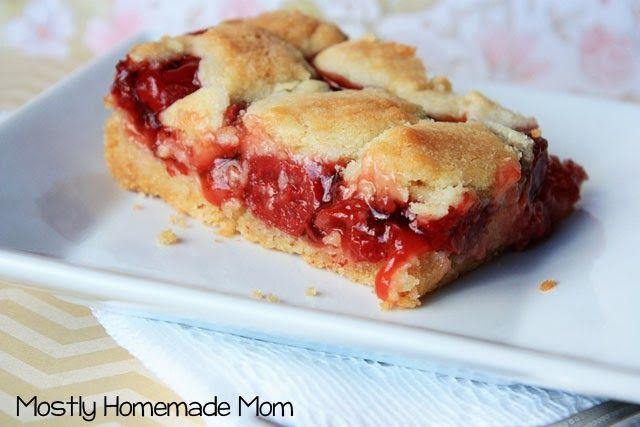 Mostly Homemade Mom - {Easy} Cherry Pie Sugar Cookie Bars www.mostlyhomemademom.com