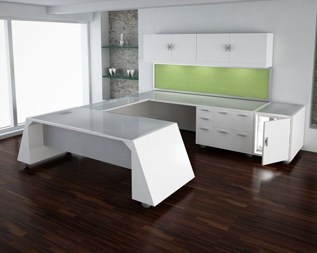 modern u shape desk with white lacquer finish and brushed metallic top very unique
