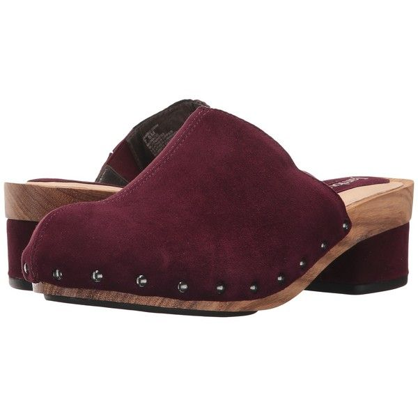 Jambu Monaco (Wine Solid Kid Suede) Women's Clog/Mule Shoes (€125) ❤ liked on Polyvore featuring shoes, mule clogs, clogs mules, platform mules, wine shoes and suede slip on shoes