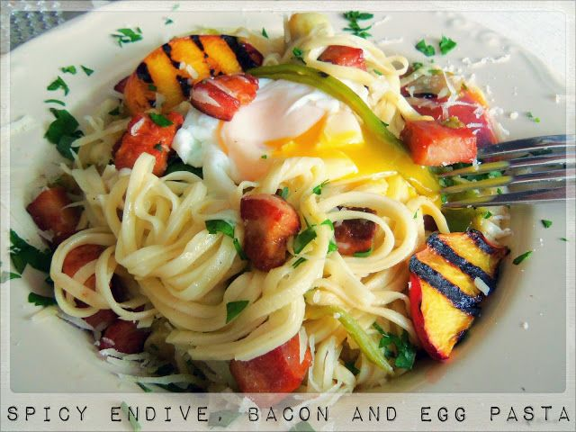 Spicy Chicory (Endive), Bacon and Egg Pasta. So creamy and fresh!!!!