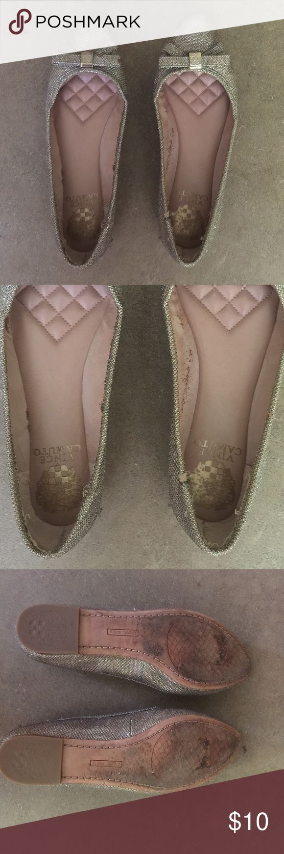 Vince Camuto flats size 7 Vince Camuto flats size 7. I purchased these at Dillards and they were the display pair. These have been worn and there are signs of wear as shown in the picture. I don't wear these anymore and they are just taking up space. Please make me an offer! Vince Camuto Shoes Flats & Loafers