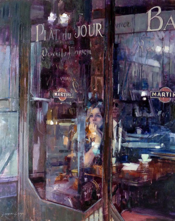 'Plat du Jour, Paris' - new oil painting by UK artist Douglas Gray. 20x16 inches. douglasgray.com #paris #restaurant #cafe #france #painting