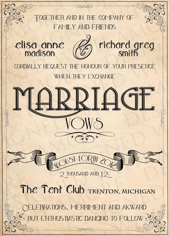 PRINTABLE INVITATIONS Vintage Wedding diy to print  by ABandIG, $25.00