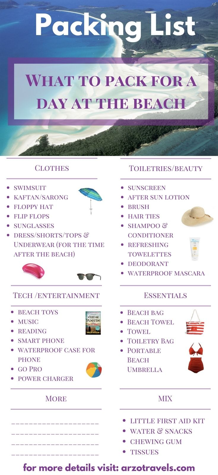 What to Pack for a Day at the Beach - so you have a perfect day at the beach. Travel tips for summer holidays.