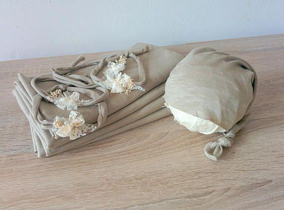 3 pieces set: sleepy cap, stretch wrap and tieback headband Stretch newborn wrap Flower headband Sleepy hat Newborn wrap set Stretching wrap