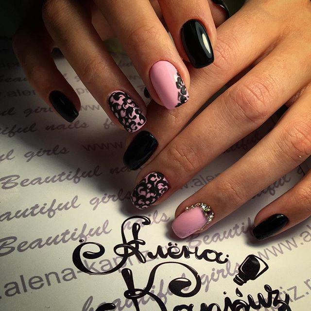 Beautiful evening nails, Beautiful nails 2016, Black and pink nails, Evening…