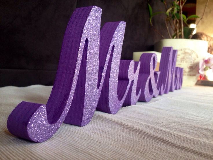 Purple Wedding centerpiece glitter sign Mr & Mrs , Wedding decoration sweetheart table Mr and Mrs by SunFla on Etsy https://www.etsy.com/listing/202916655/purple-wedding-centerpiece-glitter-sign