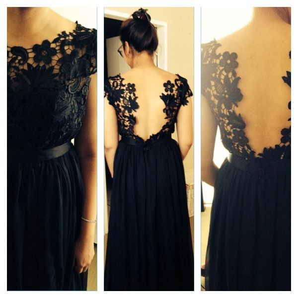 Black guipure and chiffon dress with waistband detail