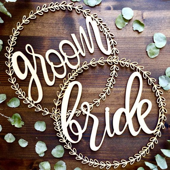 Bride and Groom Floral Wreath Chair Signs | wedding wooden sign | rustic wedding | mr and mrs sign | heirloom gift | wedding decoration