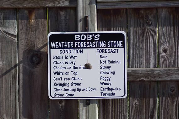 Personalized weather forecast stone. Custom name; Poppy, Dad, Grandpa, any name. This is a fun sign to hang outside, in the garage, on a tree, a post, the porch, the barn or anywhere to have a fun novelty sign. Total size with bracket is 16 1/2 x 14 1/2 Bracket sticks out 5 inches to