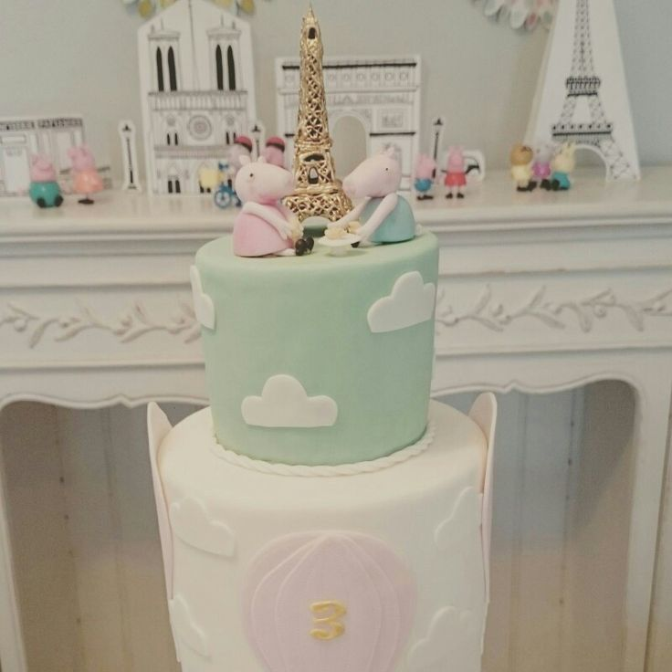 Peppa Pig in Paris third birthday party. Beautiful girls theme in pastel shades