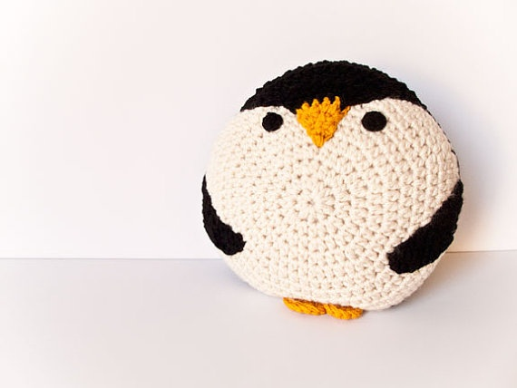 Crochet penguin pillow