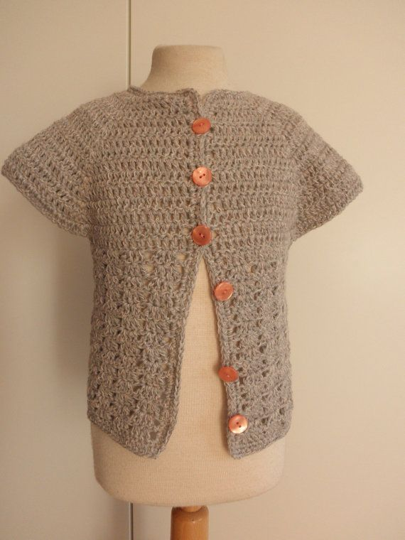 Grey and pink crocheted cardiganbaby girl by megghyshop on Etsy