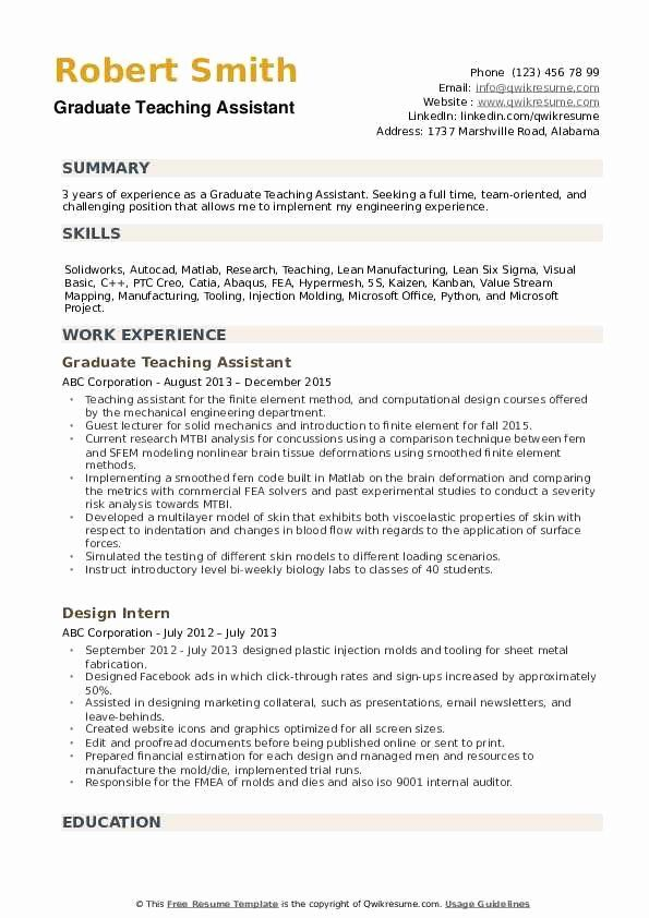 Teaching Assistant Resume Example Elegant Graduate Teaching Assistant Resume Samples In 2020 Job Resume Examples Medical Assistant Resume Teacher Assistant Jobs