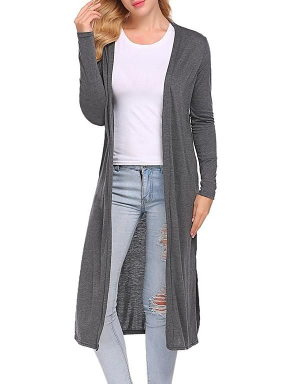 9bed6538a65 MomMe And More Women's Solid Gray Long Cardigan No Pockets – MomMe and More